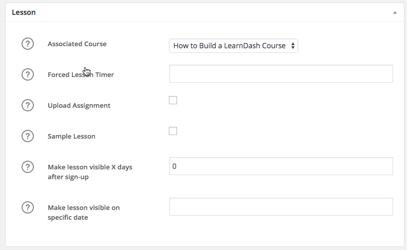 Screengrab of LearnDash Lesson Settings.
