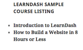 Screen grab of the LearnDash Course Listing widget.