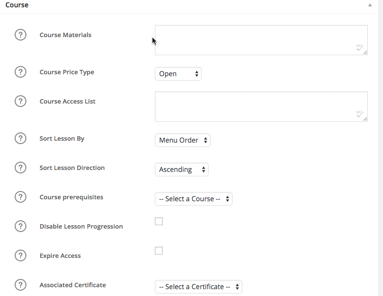 Screengrab of LearnDash Course Settings