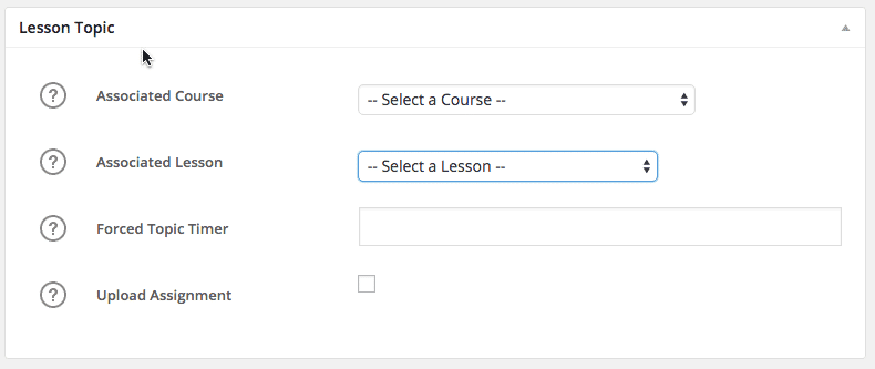Screen grab of LearnDash topic settings.