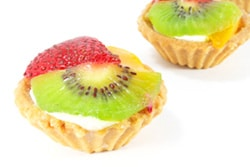 Photo of bite sized fruit tarts used with analogy of breaking content into small pieces