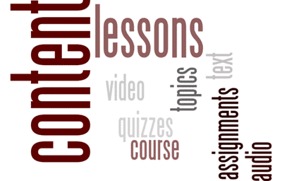 A wordcloud depicting content information like topics, lessons, quizzes, video, text, and assigments.