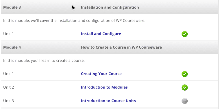 Screengrab of the module and unit listing for a WP Courseware course.