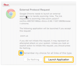 Screen grab of Zoom Launch Application Request in Chrome