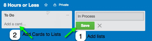 Screen grab of the Lists on a Trello Card.