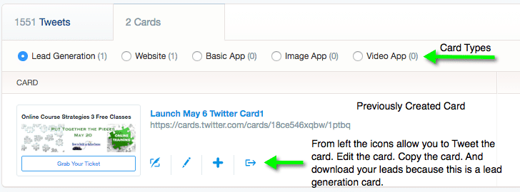 Screen grab of the Twitter card manager with notes.