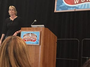 Madalyn Sklar onstage at Social Media Marketing World
