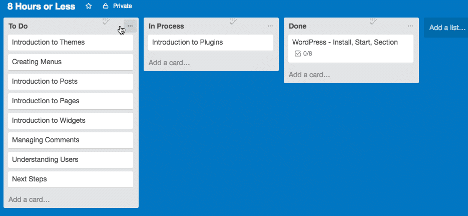 Screen grab of a Trello board with lists and cards