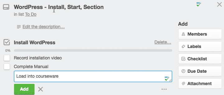 Screen grab of a Trello card with a checklist in process