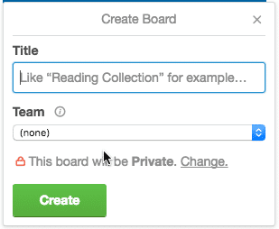 Screen grab of the Trello Create Board Dialog Box