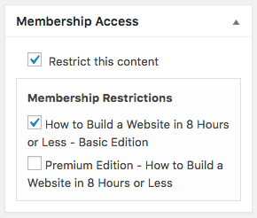 Screen grab of Membership Access dialog box for How to Build a Website in 8 Hours or Less class