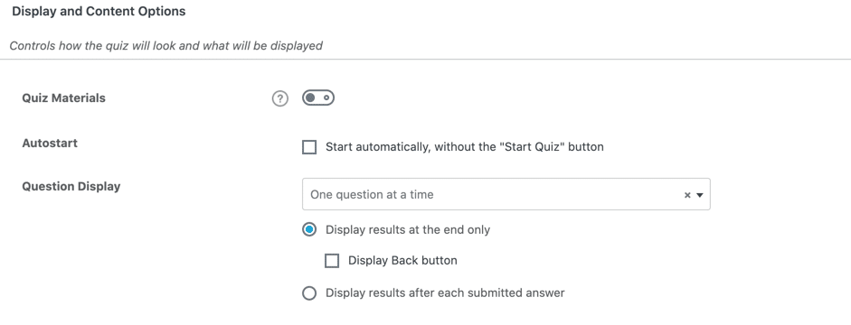 Screengrab showing where to set a LearnDash Quiz to Autostart.